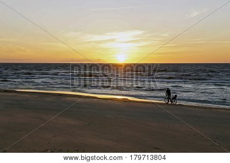 Sunset on the Baltic coast a pleasant evening philosophy