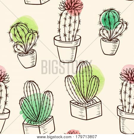 Vintage vector seamless pattern with cactus in flowerpot and watercolor blots