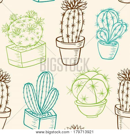 Vintage vector seamless pattern with cactus in flowerpot