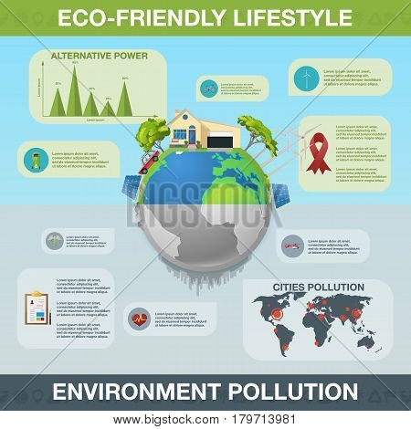 Ecology Infographics. Vector illustration. Environmental template with flat icons. Environmental protection and Pollution. Go green. Save the planet. Earth Day. Creative concept of Eco Technology