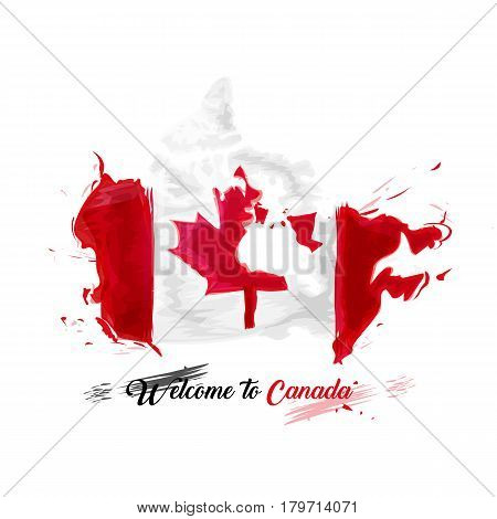 Symbol, poster, banner. Map of Canada with the decoration of the national flag. Style watercolor drawing. Canada map with national flag. Vector