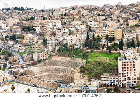 Above View Amman City With Ancient Roman Theater