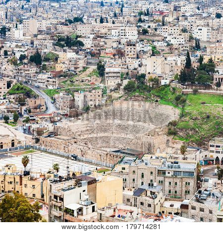 View Of Ancient Roman Theater In Amman City