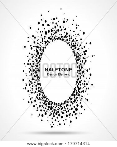 Black abstract vector oval circle frame halftone dots logo emblem design element for medical, treatment, cosmetic. Ellipse border Icon using halftone circle dots raster texture.