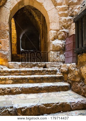 Wet Steps In Medieval Ajlun Castle In Jordan