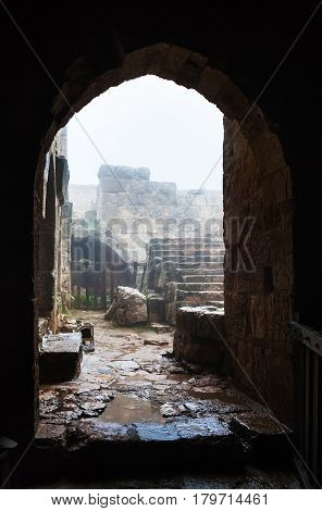 Patio In Medieval Ajlun Castle In Jordan In Rain