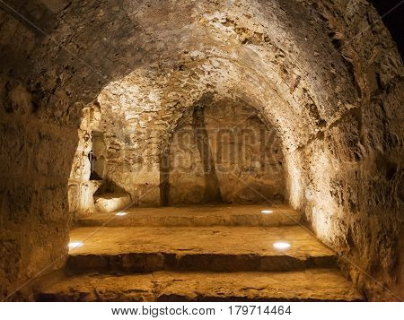 Inside Of Medieval Ajlun Castle In Jordan