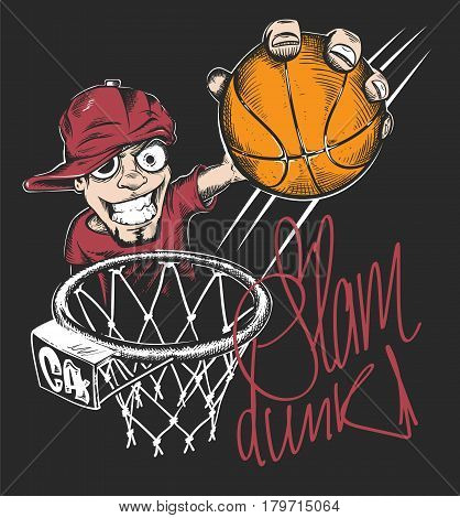 Mad basketball slam dunk t-shirt print design vector illustration