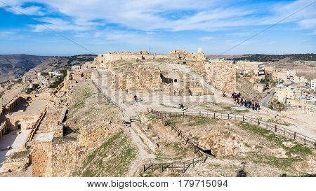 Tourists On Upper Court Of Medieval Kerak Castle