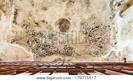 Painted Ceiling In Cave In Little Petra Town