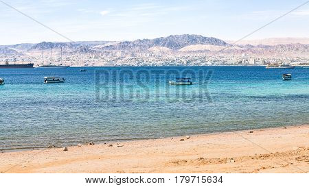 Urban Beach Of Aqaba And View Of Eilat City