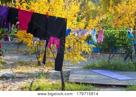 Line of casual adults and childrens Clothing hanging on rope for drying after washing in outdoor sunny garden nature environment