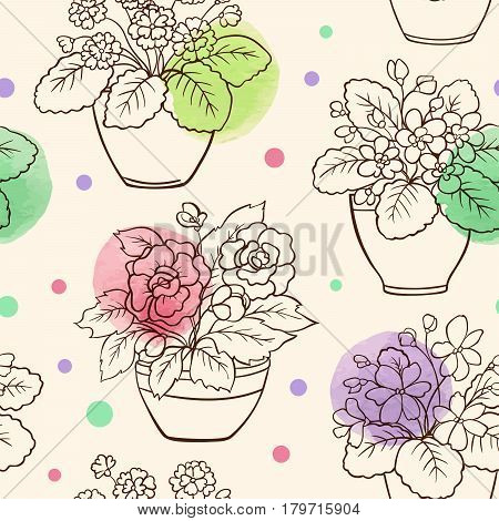 Vector seamless pattern with houseplants in flowerpot and watercolor blots