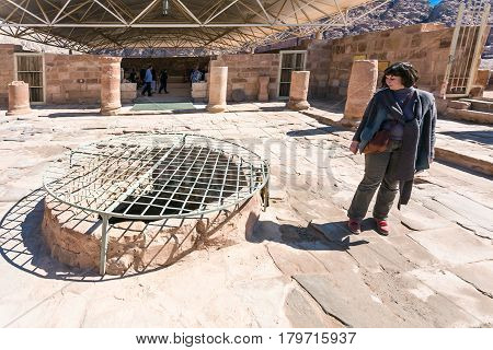 Tourists In Byzantine Church In Ancient Petra Town