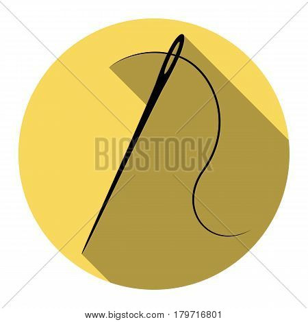Needle with thread. Sewing needle, needle for sewing. Vector. Flat black icon with flat shadow on royal yellow circle with white background. Isolated.