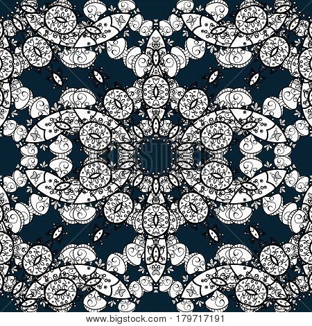 Seamless oriental ornament in the style of baroque. Traditional classic white pattern. Vector oriental ornament. Golden pattern on blue background with white elements.