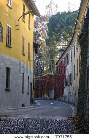 Albiate (Monza Brianza Lombardy Italy): road of the old town with Villa Airoldi