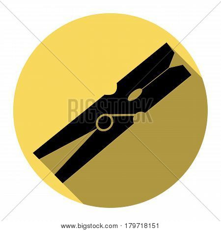 Clothes peg sign. Vector. Flat black icon with flat shadow on royal yellow circle with white background. Isolated.