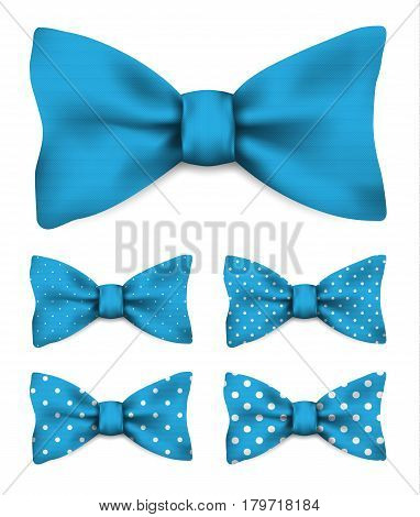Blue bow tie with white dots set realistic vector illustration isolated on white background