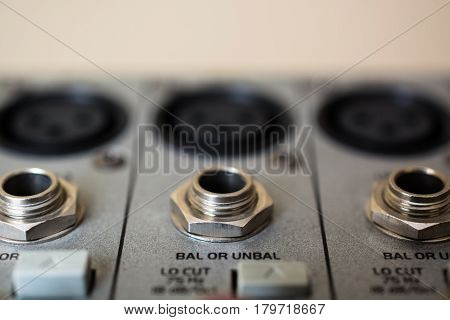 Input Sockets of the Audio Mixer. Xrl Audio Patch Panel.