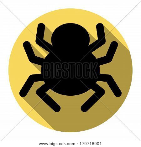 Spider sign illustration. Vector. Flat black icon with flat shadow on royal yellow circle with white background. Isolated.