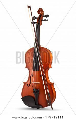 Violin with bow isolated on white background.
