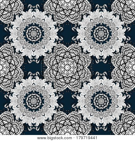 Seamless classic white pattern. Vector traditional orient ornament. Golden pattern on blue background with white elements.