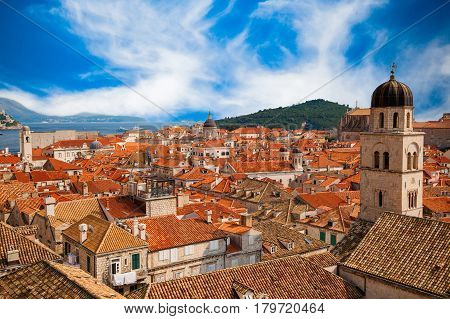 beautiful view of Dubrovnik Old town from its City Walls South Dalmatia Croatia