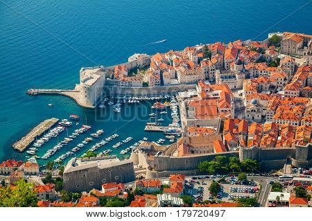aerial view of Dubrovnik Old port in the centre of the city Dalmatian coast of Adriatic sea Croatia