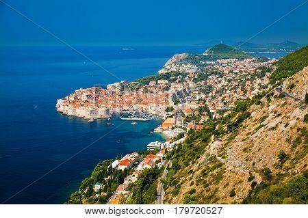 aerial view of Dubrovnik Dalmatian coast of Adriatic sea Croatia