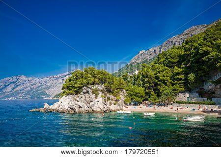 small beautiful Podrace beach in Brela Makarska Riviera Croatia