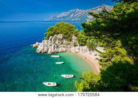 aerial view of the small beautiful Podrace beach in Brela Makarska Riviera Croatia