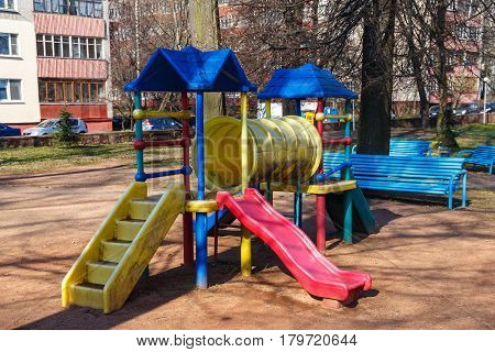 Beautiful children's playground in the park in the center of the city