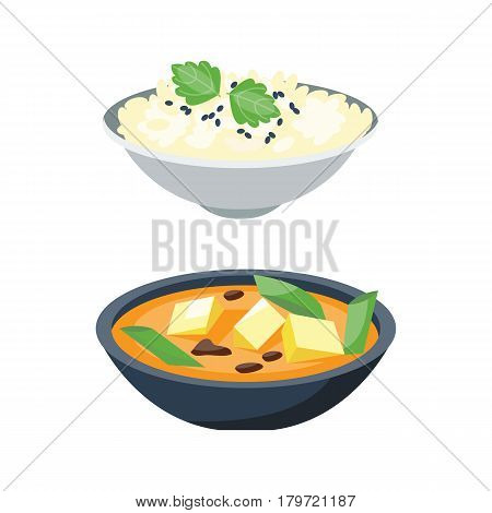 Porridge plate in bowl isolated on white background breakfast healthy food hot delicious and vegetarian groats garnish bread cuisine vector illustration. Organic diet cereal.