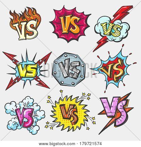 Versus doodle patch set. VS battle letters emblems, duel fight labels vector illustration