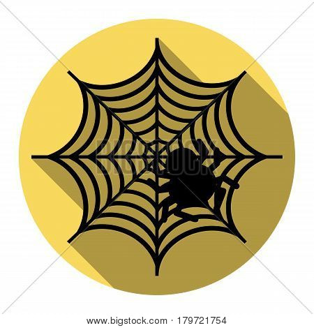 Spider on web illustration Vector. Flat black icon with flat shadow on royal yellow circle with white background. Isolated.