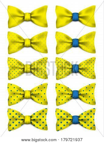 Yellow bow tie with blue dots set realistic vector illustration isolated on white background