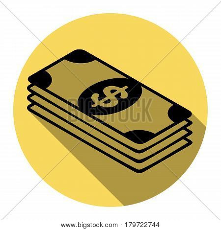 Bank Note dollar sign. Vector. Flat black icon with flat shadow on royal yellow circle with white background. Isolated.
