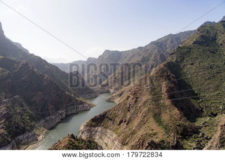 View of the Parralillo dam and the lake, Gran Canaria