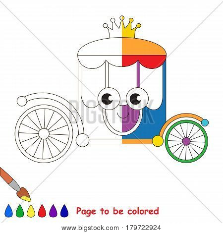 Rainbow Chariot, the coloring book to educate preschool kids with easy gaming level, the kid educational game to color the colorless half by sample.
