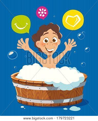 Color vector character illustration of happy smile kid washing in bath bathtub