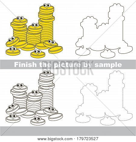 Drawing worksheet for preschool kids with easy gaming level of difficulty, simple educational game for kids to finish the picture by sample and draw a Lot af Gold Cash Coins