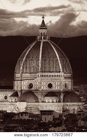 Duomo Santa Maria Del Fiore in Florence Italy dome closeup view at night
