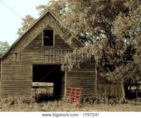 Old Barn With Red Gate Hand Tinted Black And White