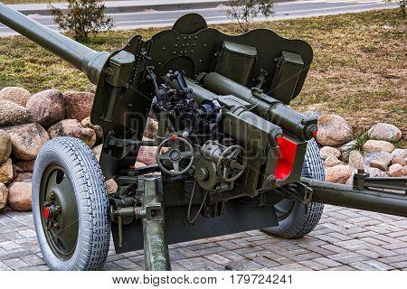 Belarus Krupki - 29.03.2017: The official part of the artillery anti-tank 85 mm gun D-44