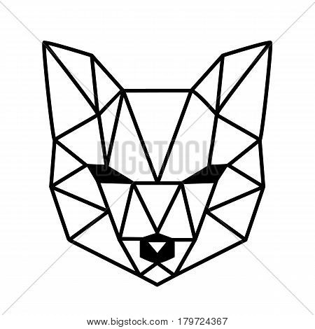 Polygonal head of fox isolated on white