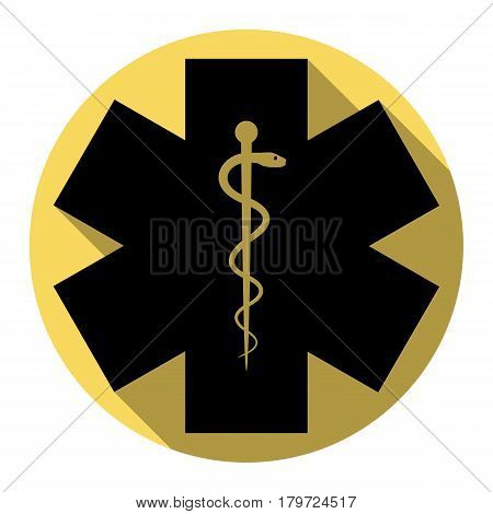 Ceremony ribbon cut sign. Vector. Flat black icon with flat shadow on royal yellow circle with white background. Isolated.