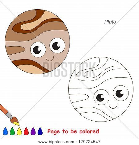 Funny Pluto Planet to be colored, the coloring book for preschool kids with easy educational gaming level.