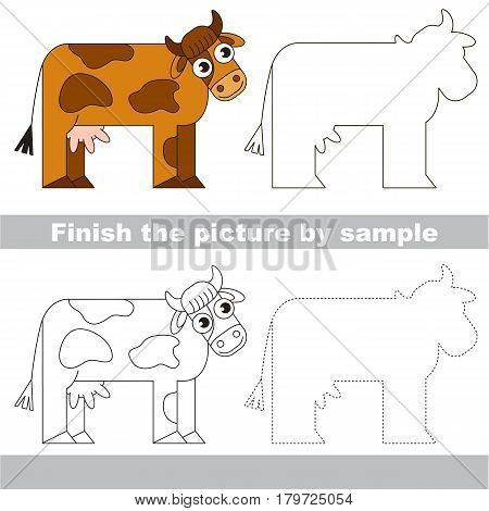 Drawing worksheet for preschool kids with easy gaming level of difficulty, simple educational game for kids to finish the picture by sample and draw the Brown Cow