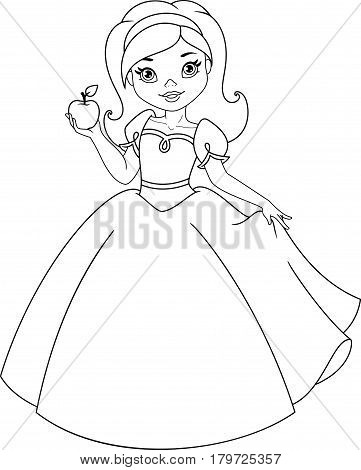 Princess Snow White holds the apple, Coloring Page
